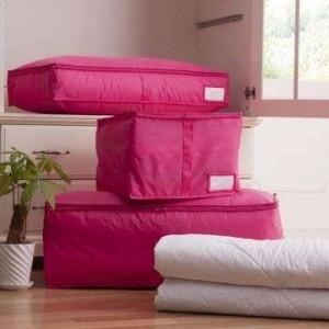 多色衣物收纳箱盒 棉被收纳袋内衣袜子整理箱  中号 玫红