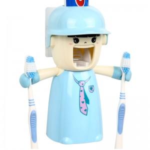 哈雷少女洗漱套装-自动挤牙膏+防尘漱口杯+情侣牙刷架三件套-领带少女