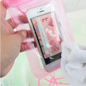 手机透明防水袋/漂流游泳多功能防水包 -粉色
