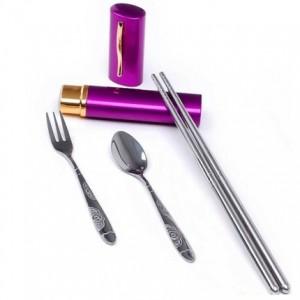 新款铝盒便携式笔筒不锈钢餐具三件套  紫色