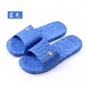 韩版水立方浴室防滑拖鞋 家居鹅卵石EVA情侣凉拖鞋 男款蓝色