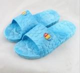 韩版水立方浴室防滑拖鞋 家居鹅卵石EVA情侣凉拖鞋 女款天蓝