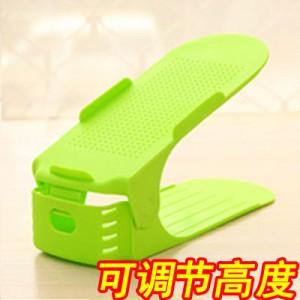 加厚可调节式收纳鞋架 DIY创意简易塑料双层鞋架 绿色