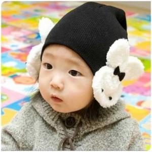小白兔婴儿帽 双兔(黑色)