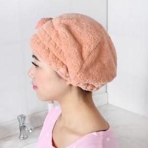 可爱蝴蝶结多彩珊瑚绒浴帽干发帽焗油帽防尘帽 粉色