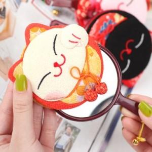 日单和风招财猫带手柄化妆镜(10款颜色) 黑色 红色