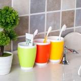 创意糖果色双层双色漱口杯 塑料洗漱杯 刷牙杯 水杯 红色