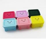 糖果色有盖锁扣笑脸桌面收纳盒 首饰整理盒 墨绿