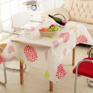 优质PEVA磨砂透明防水防尘台布/桌布--太阳花(130*180cm)
