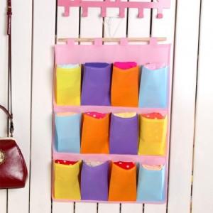 多彩无纺布收纳挂袋 悬挂式收纳整理袋(三层十二口)