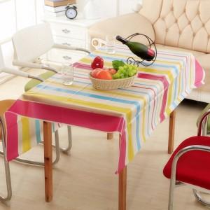 优质PEVA磨砂透明防水防尘台布/桌布--彩色条纹(130*140cm)