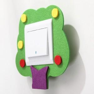 卡爱卡通毛毡镂空开关贴 不伤墙壁开关套 独立opp袋装 绿色小树