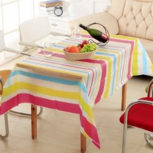 优质PEVA磨砂透明防水防尘台布/桌布--彩色条纹(130*180cm)