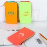 韩国大容量创意笔袋 荧光弹力双料文具袋收纳袋化妆包零钱包 MH14-1108 黄色