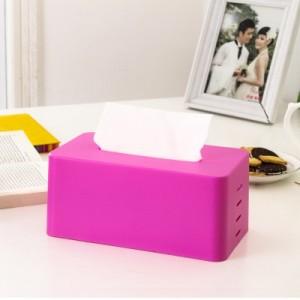 简约多色纸巾盒 抽纸盒 收纳盒  玫红色