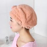 可爱蝴蝶结多彩珊瑚绒浴帽干发帽焗油帽防尘帽 紫色