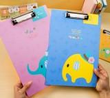 卡通小象文件夹板 写字垫板 A4票据夹 试卷发票资料 (大号) 粉色