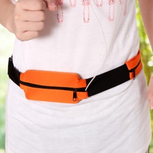 户外运动旅行跑步腰带 便携透气贴身防盗腰包 布艺款 橙色