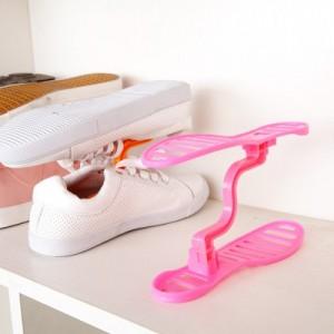创意整理收纳鞋撑 鞋子分层置放架 整理鞋架 多功能双层鞋架 可拆式收纳鞋架 粉色