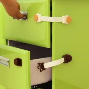 加长儿童居家安全锁冰箱锁 防宝宝夹手抽屉锁 深咖色