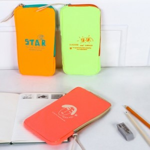 韩国大容量创意笔袋 荧光弹力双料文具袋收纳袋化妆包零钱包 MH14-1108 绿色