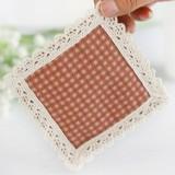 欧式纯棉编织正方形隔热杯垫 11*11cm 条纹