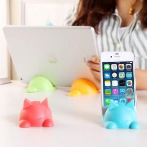 创意卡通软胶手机座 创意手机支架托架 可爱充电手机座架机架 萌猫咪蓝色