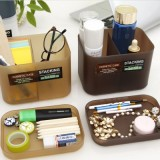 精美塑料桌面抽屉收纳盒 化妆盒-带盖 大号(2格) 白色
