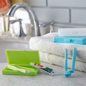 出差旅游用品便携牙刷盒防尘无菌牙具旅行便携牙刷套装(长款)JY028 透白
