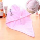 超强吸水可爱小咪兔干发帽 超细纤维加厚干发帽 粉红色