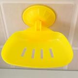 时尚彩色吸盘香皂盒 沥水肥皂盒-黄色