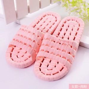 夏季镂空底塑料拖鞋 情侣浴室漏水凉拖洗澡拖鞋 粉色 80个/箱