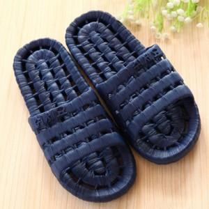 夏季镂空底塑料拖鞋 情侣浴室漏水凉拖洗澡拖鞋 深蓝色 60个/箱