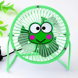 爆款动物卡通 4寸usb纯金属铝叶风扇360度旋转风扇 绿青蛙 60个/箱