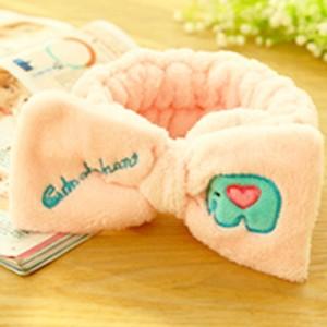韩版可爱蝴蝶结刺绣束发带-粉色大象