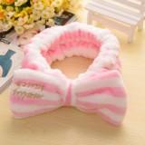 韩版可爱蝴蝶结刺绣束发带 清新面膜束发巾-粉色刺绣