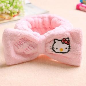 韩版可爱蝴蝶结刺绣束发带-粉色KT猫