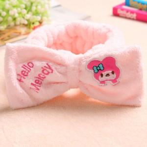 韩版可爱蝴蝶结刺绣束发带-粉色美乐蒂