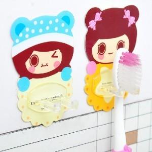 无痕牙刷架 卡通可水洗无痕挂钩 牙刷挂 饼干女孩系列