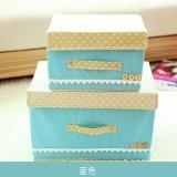 日式扣扣箱 衣物储物箱收纳盒玩具整理扣子箱 两件套 蓝色 40/箱