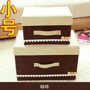 日式扣扣箱 衣物储物箱收纳盒玩具整理箱 扣子箱 小号 咖啡 140/箱