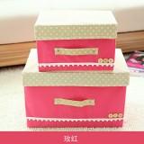 日式扣扣箱 衣物储物箱收纳盒玩具整理扣子箱 两件套 玫红 40/箱