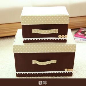 日式扣扣箱 衣物储物箱收纳盒玩具整理扣子箱 两件套 咖啡 40/箱