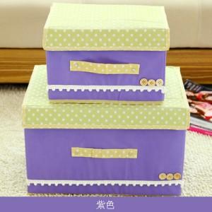 日式扣扣箱 衣物储物箱收纳盒玩具整理扣子箱 两件套 紫色 40/箱