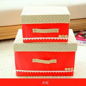 日式扣扣箱 衣物储物箱收纳盒玩具整理扣子箱 两件套 大红 40/箱