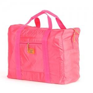 韩版大容量防水尼龙可折叠式旅行收纳包 手提旅游收纳袋 玫红色