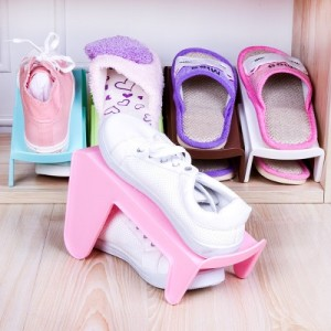 日式加厚一体式整理鞋架  上下双层立体式鞋子收纳架 蓝色