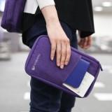 出国必备机票证件包旅行多功能专用手拿包 护照包(加厚帆布长款)TRAVELUS 橙色