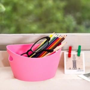 椭圆形迷你收纳盒 收纳篮 带把手塑料材质 收纳篮 C05004 粉色