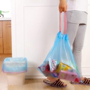 穿绳式加厚环保垃圾袋 中号(18只装) 蓝色